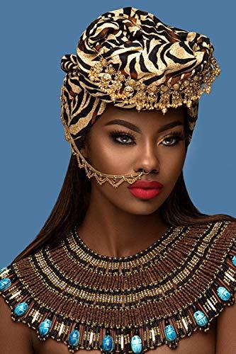 Afrikaanse gouden canvas schilderij poster voor vrouw met rode lippen Scandinavische wall art poster en printmaking woonkamer