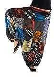 virblatt Unisex Pantaloni alla Turca Donna Patchwork con Fantasia e Tessitura Tradizionale Taglia Unica Che Veste dalla S alla L. Pantaloni Hippie con Comoda Cintura Elastica – Patchwork