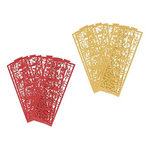 Sharplace 12 Pcs Abat Jour Lumière Lanterne Décoration De Fournitures De Fête Légère - Or + Rouge