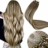LaaVoo Micro Ring Loop Hair Extensions 20 Inch Micro Beads Human Hair Balayage Light Brown Fading to Platinum Blonde Mixed Brown Silky Soft Micro Link Human Hair Extensions 50g 50strands