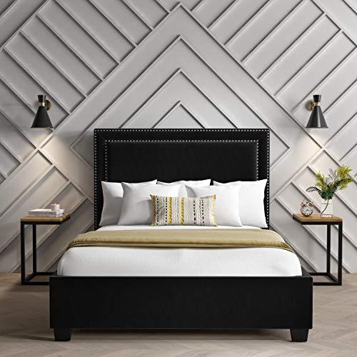 Safina Studded Velvet King Size Ottoman Bed in Black