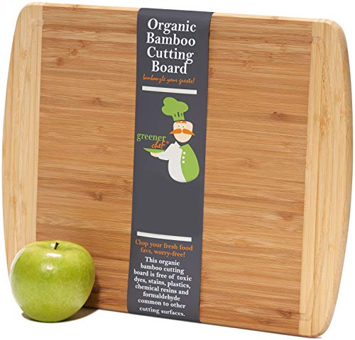 Medium-Large Wood Cutting Board : 14.5 x 11.5 Inches - Lifetime Replacement Bamboo Cutting Boards for Kitchen - Just the Right Size Wooden Chopping Board - Butcher Block