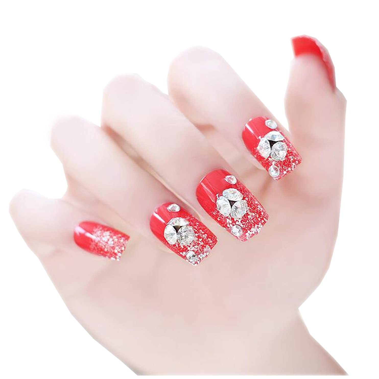 中間トリプル永久に24個のPCS結婚式の花嫁の人工爪ガム(赤)