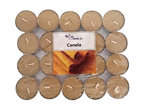 Lumar - Pack de 20 Velas de té con Aroma a Canela