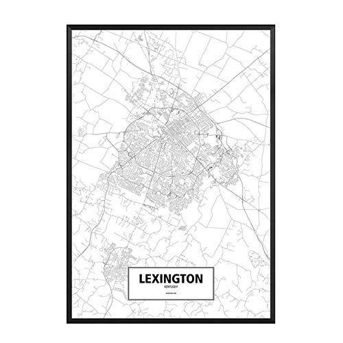 GUICAI Lexington, Kentucky, Estados Unidos, Negro, Blanco, Mundo, Mapa de la Ciudad,...