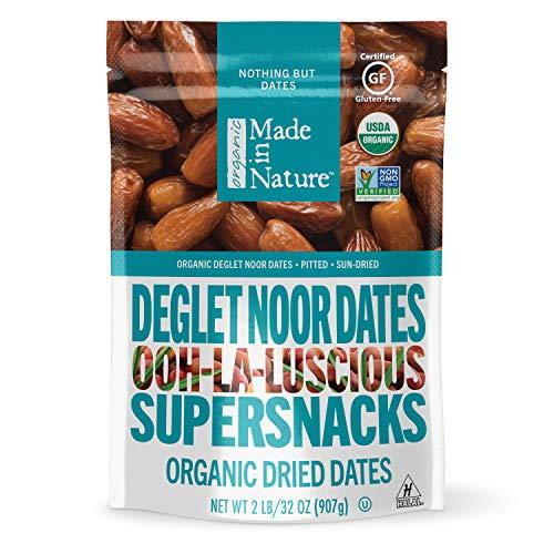 Made in Nature Organic Dried Fruit, Deglet Noor Dates, 32oz Bag  Non-GMO, Unsulfured Vegan Snack
