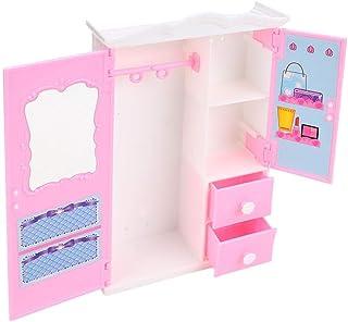 01 لعبة بيت لعب خزانة الدمى، خزانة تخزين الدمى مقاومة للاهتراء، إكسسوارات دمى ألعاب الفتيات للاستخدام المنزلي للأطفال