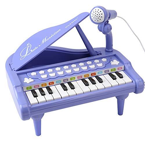 Amy & Benton Mini Juguete de Piano con 24 Teclas, Regalo del Bebé para niñas Piano Teclado Juguete con Micrófono, Instrumento Educativo con Luces y Canciones de Música de 1 2 3 años (Púrpura)…