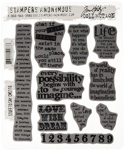 Tim Holtz Anonymous CMS110 - Juego de Sellos con Frases (10 Unidades, 17,7 x 21,5 cm)