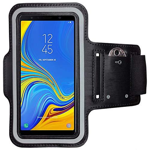 CoverKingz Armtasche für Samsung Galaxy A7 (2018) Sportarmband mit Schlüsselfach, Laufarmband Sport, Handy Armband Schwarz