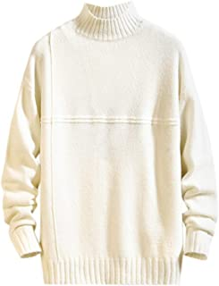 Rosatro Mens Casual Autumn Pure Color Knitted Sweater Tops Winter Turtleneck Pullover Tops