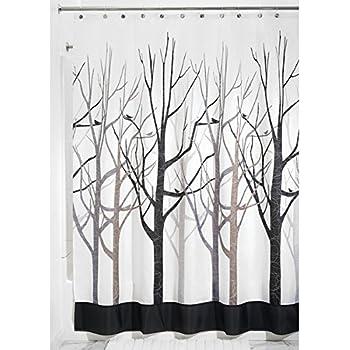 mDesign Cortina de baño antimoho - Cortina Ducha de 180 cm x 200 cm - Cortina bañera Impermeable Color Gris/Negro - Modelo árboles: Amazon.es: Hogar