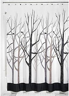 mDesign Cortina de baño antimoho - Cortina Ducha de 180 cm x 200 cm - Cortina bañera Impermeable Color Gris/Negro - Modelo árboles