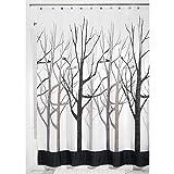 mDesign Duschvorhang mit Waldmuster - perfektes Badzubehör mit idealen Maßen: 180 cm x 200 cm - langlebige Duschgardine - Farbe: grau/schwarz