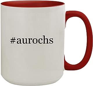#aurochs - 15oz Hashtag Colored Inner & Handle Ceramic Coffee Mug, Red