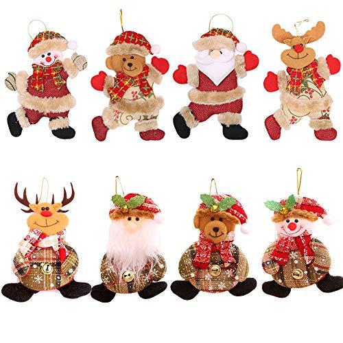 8 Pezzi Addobbi Natalizi da Appendere per albero di Natale Decorazioni Natalizie Appese Pendenti Ornamento Regalo Bambola di Babbo Natale Alce Orso Pupazzo di Neve Ciondolo per Natale Camino Regalo
