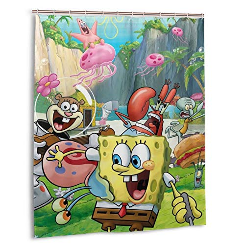 NIHAOA Spongebob Shower Curtain Liner Waterproof Polyester Fabric Bathroom Shower Curtain Fabric Shower Curtain 12 Hooks 60 x 72 Inches
