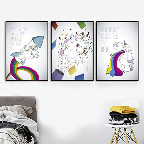 UIOLK HD Pintura en Lienzo de Dibujos Animados u Cohete bao Divertido Arte de la Pared Pintura en Lienzo Carteles nrdicos e impresin de Pared decoracin del beb Carteles Populares de Moda