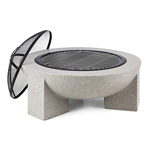 blumfeldt Troja Fire Bowl Garden Edition- Hearth Grill, Fireplace, Fire-Resistant, 75cm Ø, Includes Grill Grate for Use as a BBQ Pit, Fire Bowl out of Steel with an Edging of MgO Artificial Stone