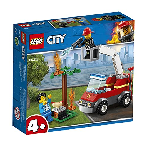 LEGO 60212 City Feuerwehr beim Grillfest, Bauset mit Feuerwehrauto-Spielzeug, Feuerwehrmann-Minifigur, Hot Dog und Grillzubehör, Feuerwehrfahrzeuge Bausets