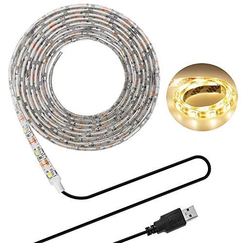 LEDテープライト LHY LEDテープ 貼レルヤ USB 5V 200cm 120連 高輝度 白ベース 正面発光 切断可能 IP65防水タイプ 間接照明・両面テープで好きな場所に貼り付け可能・ショーケースなど店舗用照明にも最適 (電球色 3000K)