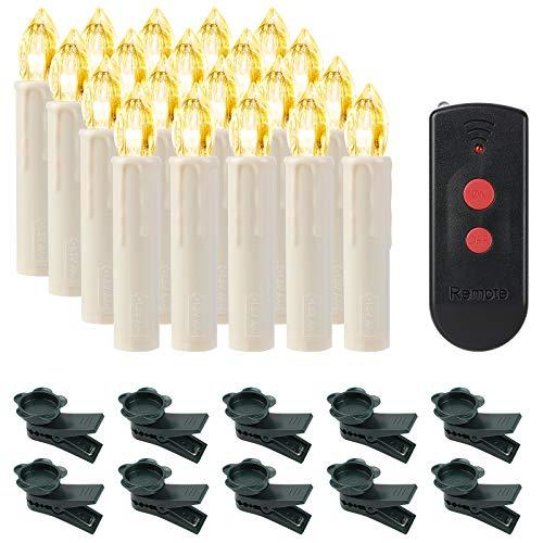 SHYOSUCCE 20 Velas LED sin llama Velas LED Navideñas Inalámbricas con Control Remoto, Luces de Velas Navidad Blancas Cálidas para Navidad, Bodas, Cumpleaños, Fiestas
