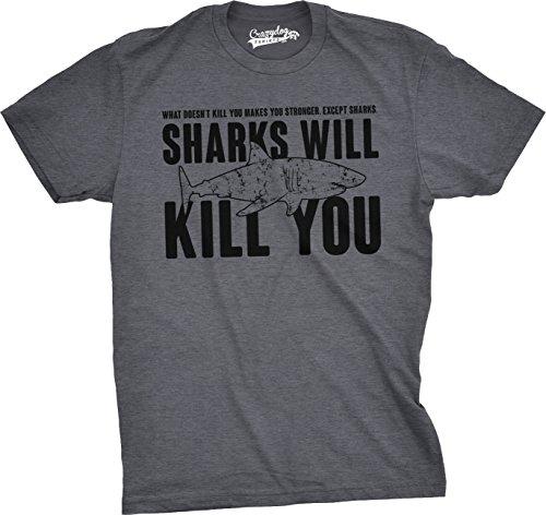 Mens Sharks Will Kill You Funny T S…