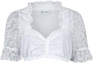 Trachten Stoiber Damen Dirndl Bluse mit Spitzen-Ärmeln weiß, Weiß, 32