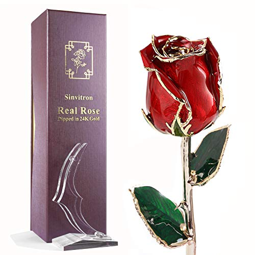 Sinvitron 24K Gold Dipped Rose, Real Rose 24K Gold Plated, Romantic Anniversary Wedding Gifts for Her, Forever Preserved Rose with Stand & Gift Box (Red)