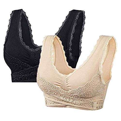 Women Seamless Cross Front Side Buckle Lace Sports Bras Workout Gym Activewear with Removable Bra 2Pack (L 32C 32D 34AB, Black/Beige)