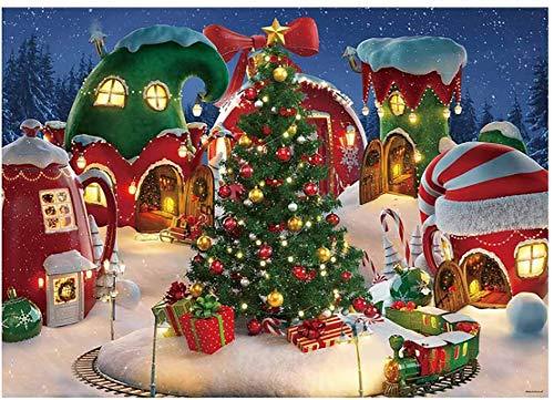 Allenjoy Dibujos animados de pueblo de Navidad Fotografía telón de fondo de invierno nieve pino árbol de fondo de Navidad cuento de hadas animado fiesta niños foto stand suministros 2.1 x 1.5 m