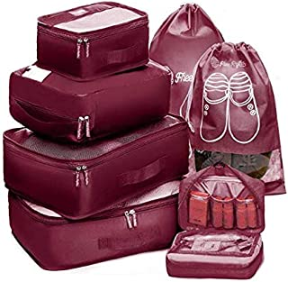 Packing Cubes Travel Set 7Pc 2 Large Cube Organizer Laundry Shoe & Toiletry Bag for Laundry, Blouse, Bra, Hosiery, Stocking, Underwear, Lingerie