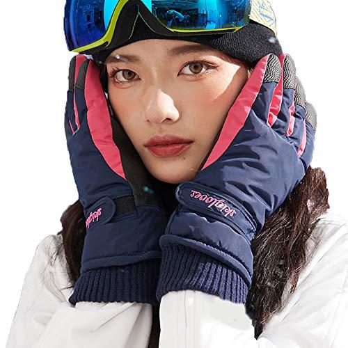 SSDAOO Winterski Handschuhe Radfahren Motorrad Kaltbeständige Handschuhe Dicke Eislaufenhandschuhe Motorrad Winterhandschuhe,Blue Female