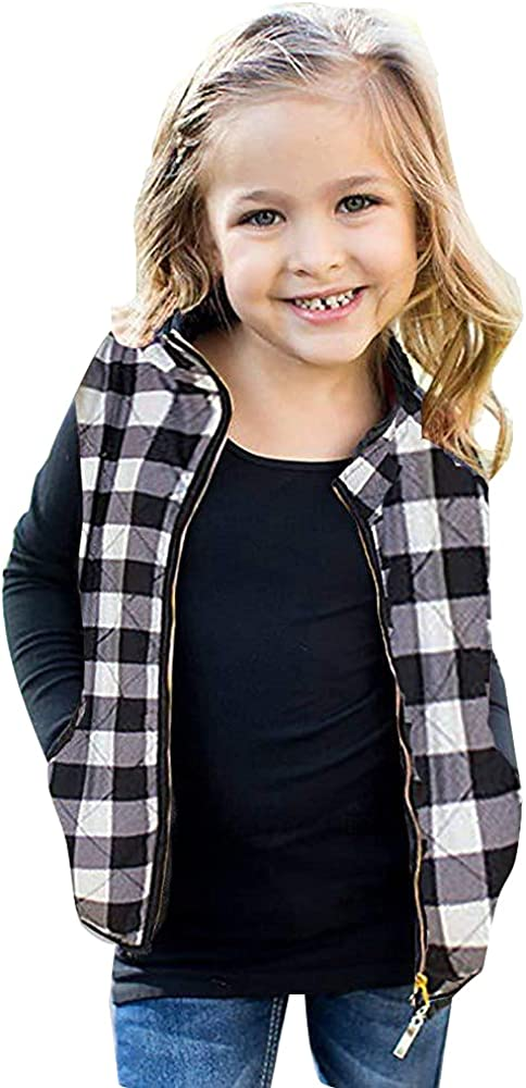 Toddler Kids Baby Girls Vest Coat Plaid Zipper Jacket Christmas Outfits Sleeveless Fall Winter Outwear with Pocket: Clothing, Shoes & Jewelry
