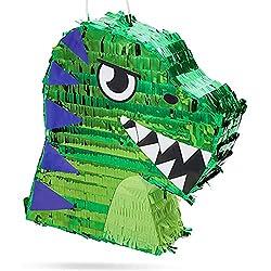 7. Blue Panda Store Small Green Scary T-Rex Dinosaur Pinata