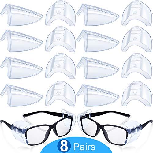8 Paare Sicherheit Auge Brillen Seitenschutz Rutsch Klar Flexible Schlüpfen Schild Geeignet Kleine Mittelgroße Brillen Mehr Schutz für Schutzbrillen (Transparent)