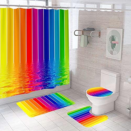 Shukqueen Duschvorhang, bunte Regenbogen-Wasseroberfläche, bedruckt, Bad-Dekorationen, wasserdichter Polyester-Stoff, Badezimmer-Duschvorhang mit Haken, 150 x 180 cm