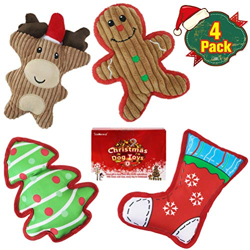 Christmas Squeaky Dog Plush Toys - 4 Packs Puppy Chew Toys, Soft Cute Xmas Pet Gifts for Puppies Small Dogs