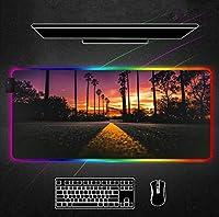 マウスパッド 風光明媚なハイウェイグローイングライトRgbマウスパッドXxlゲーマーアクセサリーLedマウスパッドゲーミングバックライト付きデスクラグマットキーボード用(Size_3)800X300X4Mm