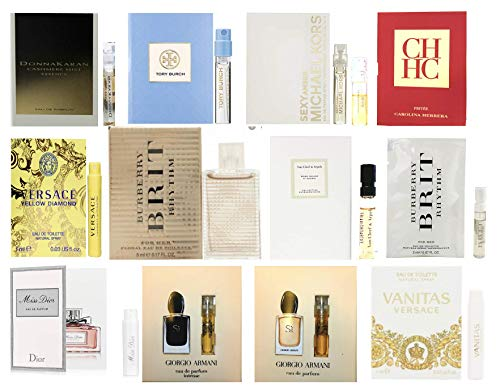 Golden Mermaid's Choice: Designer Fragrance Samples for Women - Sampler Lot x 12 Perfume Vials with one Mini 5ml-Great for Even Gifts!