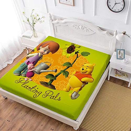 Fitted Sheet,Winnie The Pooh Bear,Soft Wrinkle Resistant Microfiber Bedding Set,with All-Round Elastic Deep Pocket, Bed Cover for Kids & Adults,twin (47x80 inch)