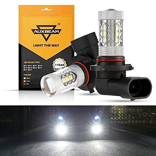 Auxbeam Extremely Bright Max 50W High Power H10 9145 LED Fog Light Bulbs for Signal, Turn, Parking, Tail, DRL and Fog lights, Xenon White (Set of 2)