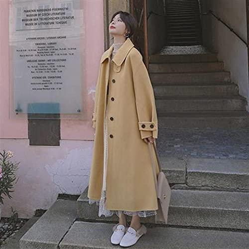 Wuyuana Abrigo para mujer cálido y largo con cinturón para mujer, ropa de oficina, abrigo para mujer, abrigos para mujer (color: amarillo, talla XXXL)