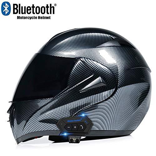 MTTKTTBD Bluetooth Casco Moto,Anti-Fog Doppia Visiera Modulari Casco Integrale Moto per Mofa Scooter Crash Racing Locomotive Microfono per Cuffie con Altoparlante Incorporato ECE Omologato
