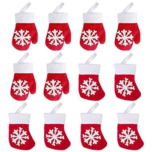 Hemoton 12PCS Weihnachten Besteck Halter Taschen Premium Stoff Gabel Messer Taschen Durable Handschuh und Socke Tisch Dekorationen 13 x 10cm