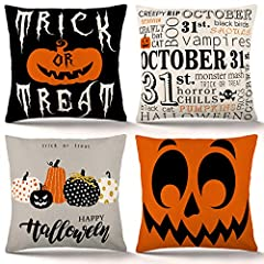 Packing: 4pcs halloween throw pillow covers, no inserts or fillers, with single-sided printing. Material: cotton linen Size: 18 x 18 inches (45 x 45 cm); due to manual measurement and cutting, 1-2 cm error may occur. Design: Designed for halloween de...