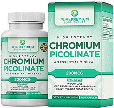 Premium Chromium Picolinate Supplement by PurePremium (Gluten-Free, GMP Certified, High Potency) Chromium Supplement Supports Health Blood Sugar Levels and Glucose Metabolism