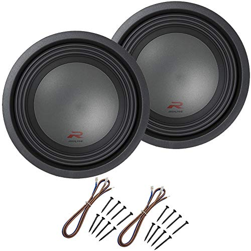 "Alpine R-W12D4 Car Audio Type R Dual 4 Ohm 1500 Watt 12"" Subwoofers with Sub Install Kit Package"