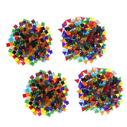 Hellery 640g de Mosaicos de Vidrio Coloridos Accesorios para Manualidades DIY Tri/ángulo//Cuadrado