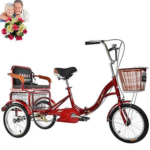 Triciclo Bicicleta de 3 Ruedas para Adultos Triciclo Plegable de 16 ''...